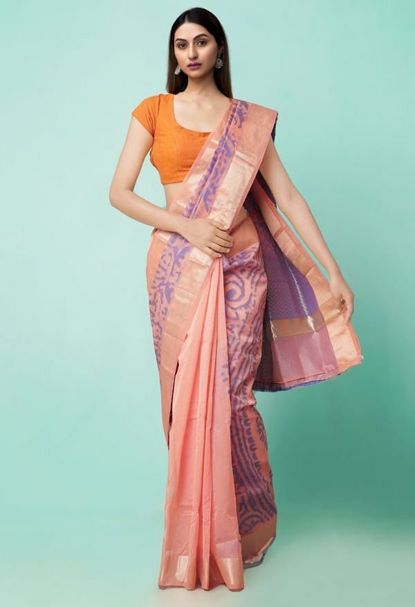 Online Shopping for Pink  Hand Block Printed Supernet Saree with Hand Block Prints from Rajasthan at Unnatisilks.comIndia