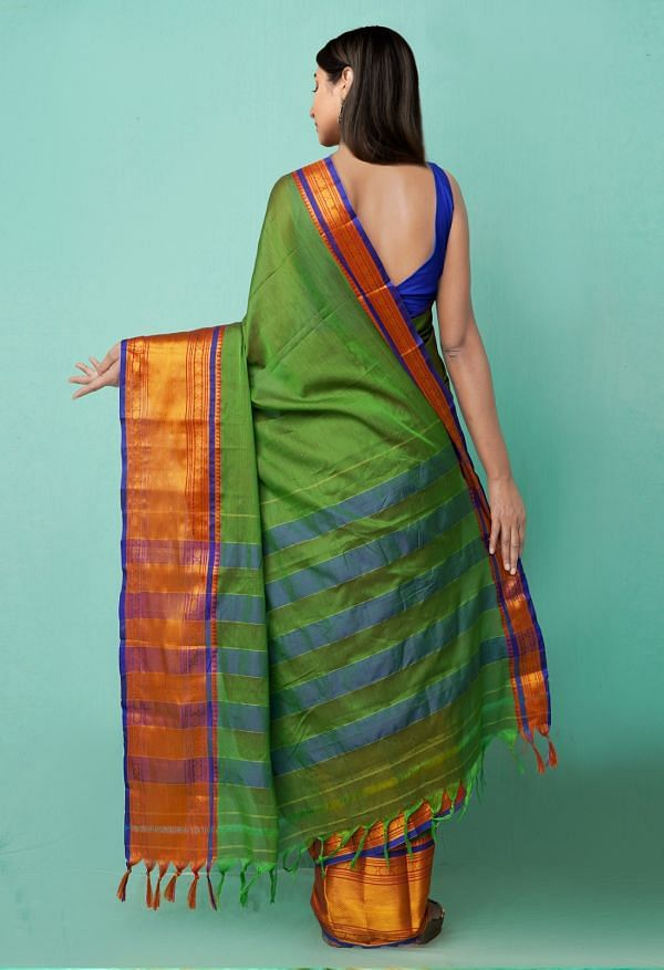 Online Shopping for Green Pure Narayanpet Silk Cotton Saree with Weaving from Andhra Pradesh at Unnatisilks.comIndia