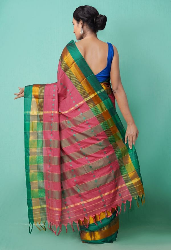 Online Shopping for Pink Pure Narayanpet Silk Cotton Saree with Weaving from Andhra Pradesh at Unnatisilks.comIndia