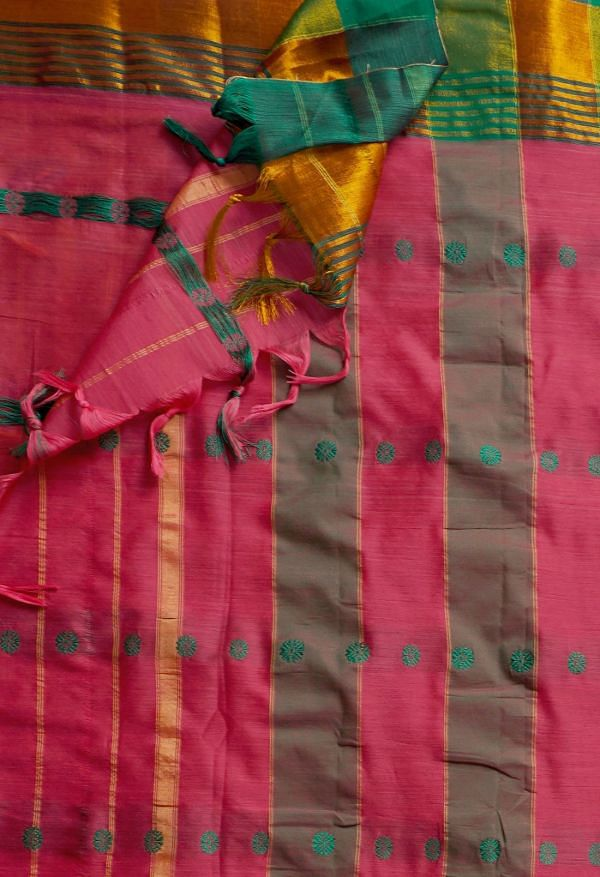 Online Shopping for Pink Pure Handloom Narayanpet Silk Cotton Saree with Weaving from Andhra Pradesh at Unnatisilks.comIndia