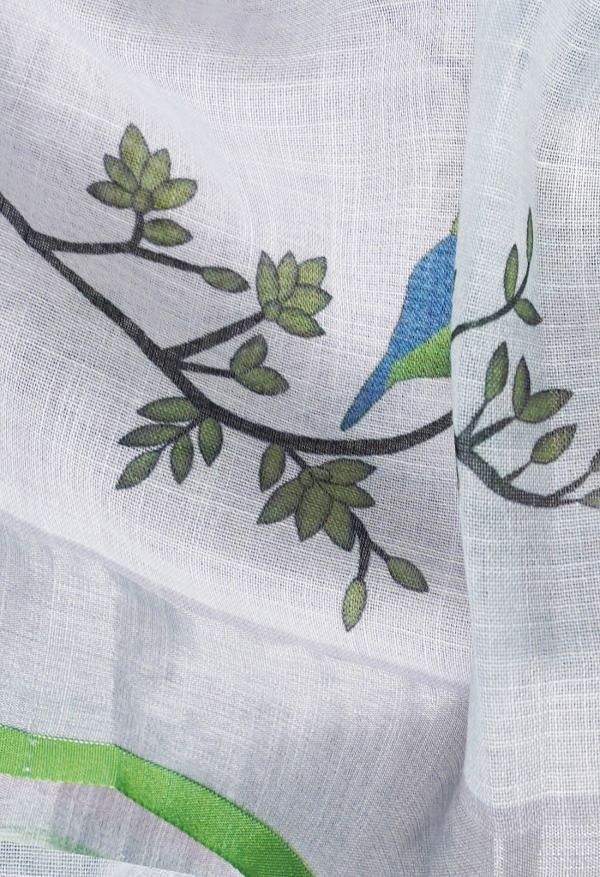 Online Shopping for White Pure Handloom Block Printed Linen  Saree with Hand Block Prints from Rajasthan at Unnatisilks.comIndia