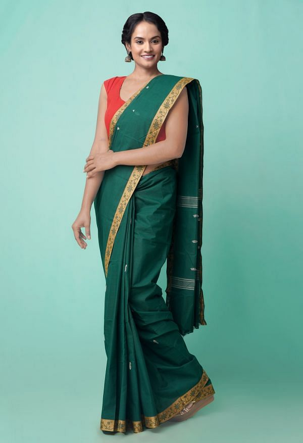 Online Shopping for Green Pure Pavani Chettinad Cotton Saree with Hand Block Prints from Rajasthan at Unnatisilks.comIndia