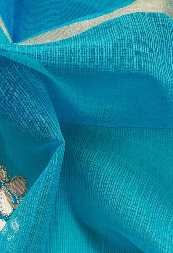 Online Shopping for Blue Pure Applique Kota Cotton Saree with Hand Block Prints from Rajasthan at Unnatisilks.comIndia