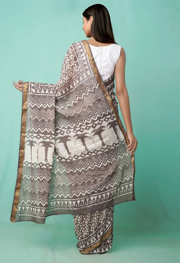 Online Shopping for Grey  Preet Dabu Mulmul Cotton Saree with Dabu from Rajasthan at Unnatisilks.comIndia