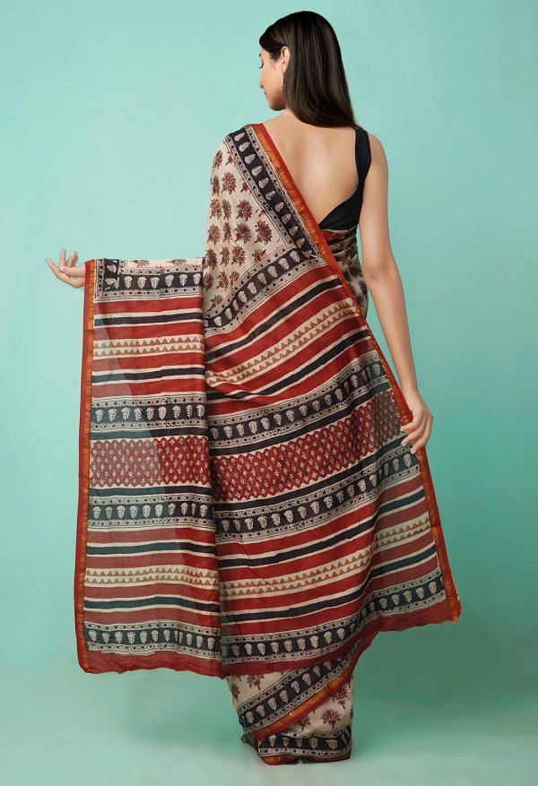Online Shopping for Beige  Preet Bagru Chanderi Sico Saree with Hand Block Prints from Rajasthan at Unnatisilks.comIndia