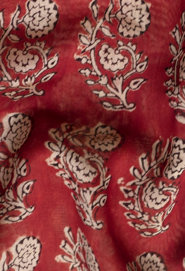 Online Shopping for Red  Preet Bagru Chanderi Sico Saree with Hand Block Prints from Rajasthan at Unnatisilks.comIndia