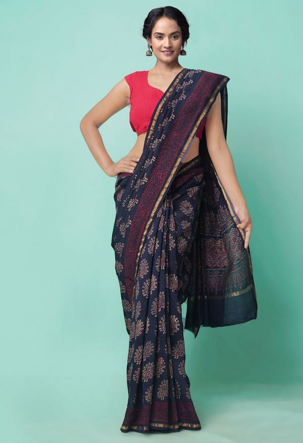 Online Shopping for Blue  Preet Napthol Chanderi Sico Saree with Napthol from Rajasthan at Unnatisilks.comIndia