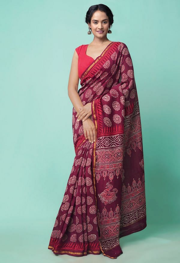 Online Shopping for Burgundy  Preet Napthol Chanderi Sico Saree with Napthol from Rajasthan at Unnatisilks.comIndia