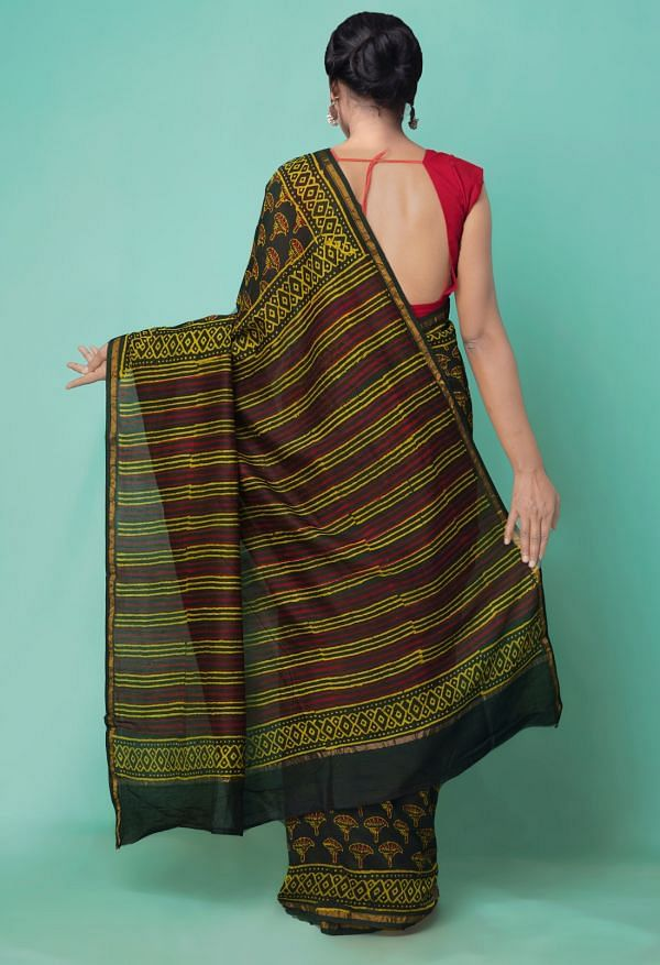 Online Shopping for Green  Preet Napthol Chanderi Sico Saree with Napthol from Rajasthan at Unnatisilks.comIndia