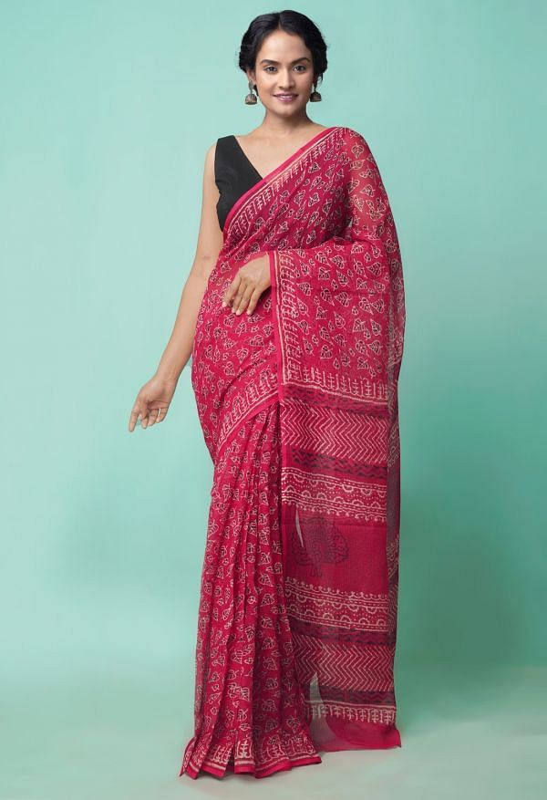 Online Shopping for Red  Preet Napthol Kota Cotton Saree with Napthol from Rajasthan at Unnatisilks.comIndia
