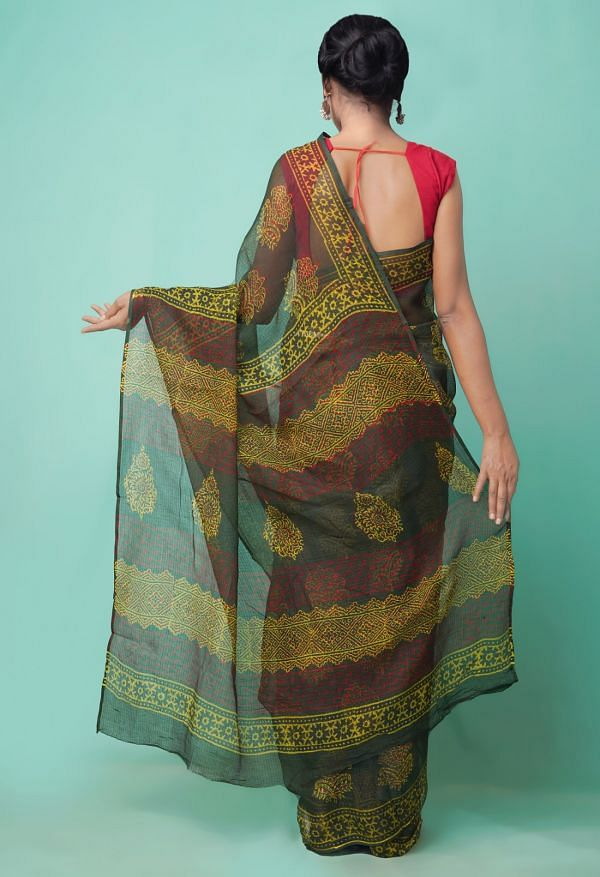 Online Shopping for Green  Preet Napthol Kota Cotton Saree with napthol from Rajasthan at Unnatisilks.comIndia