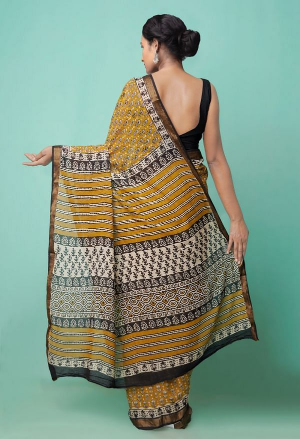 Online Shopping for Brown  Preet Bagru Mulmul Cotton Saree with Bagru  from Rajasthan at Unnatisilks.comIndia