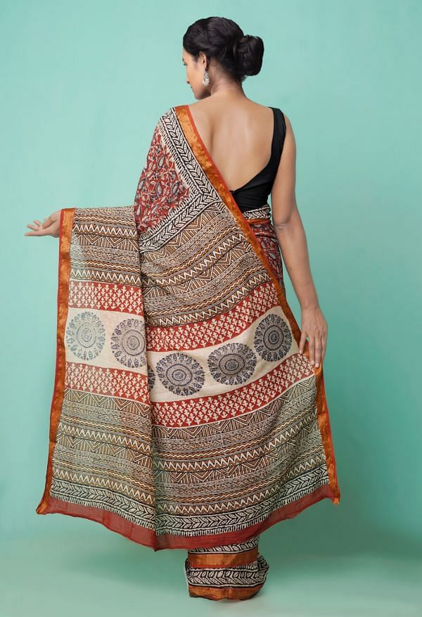 Online Shopping for Red  Preet Bagru Mulmul Cotton Saree with Bagru  from Rajasthan at Unnatisilks.comIndia