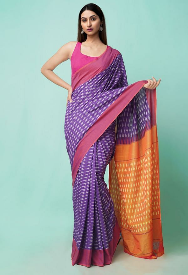 Online Shopping for Purple Pure Handloom Pochampally Ikat Cotton Saree with Ikat from Andhra Pradesh at Unnatisilks.comIndia