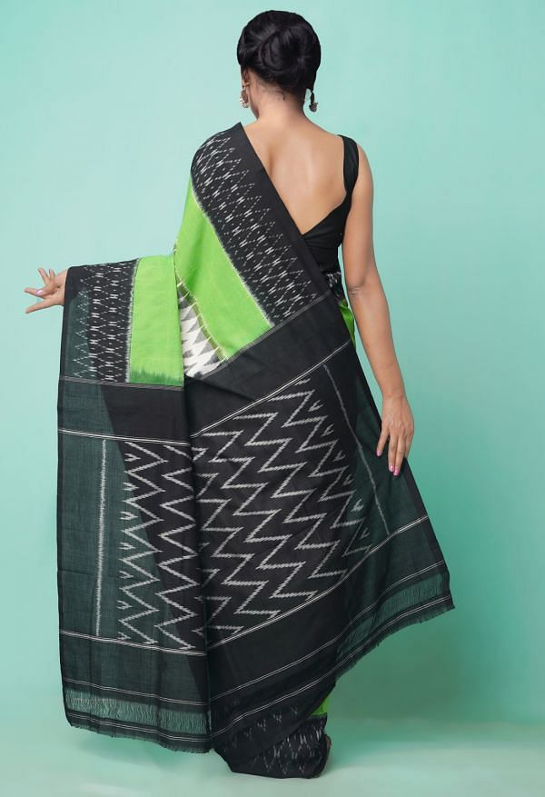 Online Shopping for Ivory Pure Handloom Pochampally Ikat Cotton Saree with Ikat from Andhra Pradesh at Unnatisilks.comIndia
