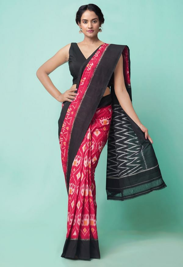 Online Shopping for Red Pure Handloom Pochampally Ikat Cotton Saree with Ikat from Andhra Pradesh at Unnatisilks.comIndia