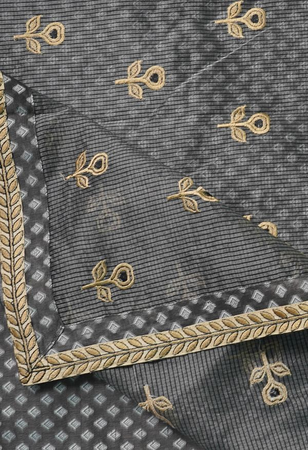 Online Shopping for Grey  Embroidery Organza Saree with Weaving from Punjab at Unnatisilks.comIndia