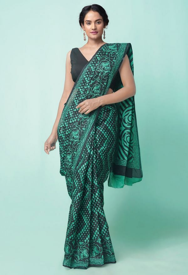 Online Shopping for Black  Hand Block Printed Mulmul Cotton Saree with Weaving from Punjab at Unnatisilks.comIndia