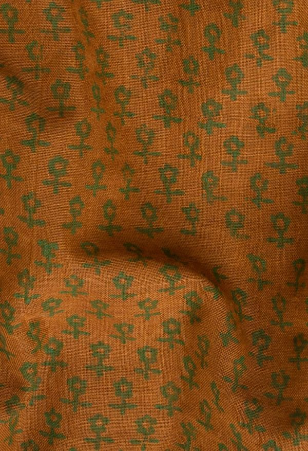 Online Shopping for Orange Pure Hand Block Printed Mulmul Cotton Saree with Hand Block Prints from Rajasthan at Unnatisilks.comIndia