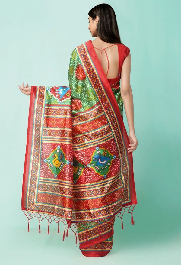 Online Shopping for Green  Fancy Printed Art Silk Saree with Weaving from Andhra Pradesh at Unnatisilks.comIndia