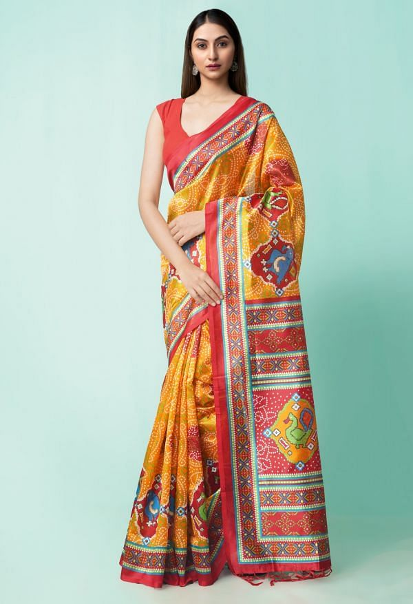 Online Shopping for Orange  Fancy Printed Art Silk Saree with Weaving from Andhra Pradesh at Unnatisilks.comIndia