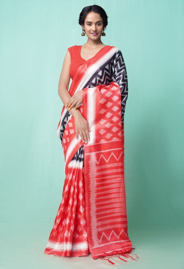 Online Shopping for Black-Red  Fancy Printed Art Silk Saree with Fancy/Ethnic Prints from Punjab at Unnatisilks.comIndia