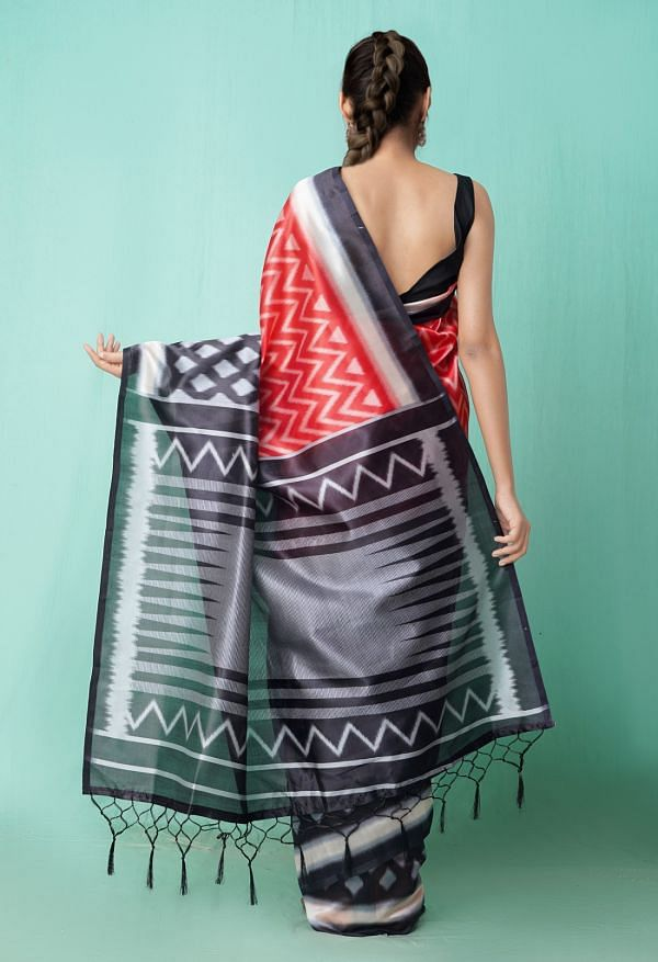Online Shopping for Red  Fancy Printed Art Silk Saree with Fancy/Ethnic Prints from Punjab at Unnatisilks.comIndia