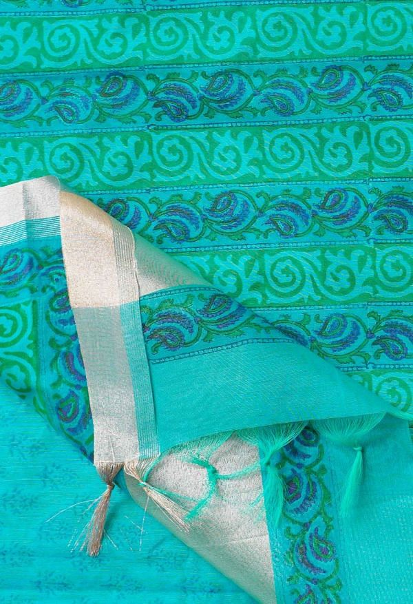 Online Shopping for Turquoise Blue Pure Vrinda Chanderi Sico Saree with Hand Block Prints from Madhya Pradesh at Unnatisilks.comIndia