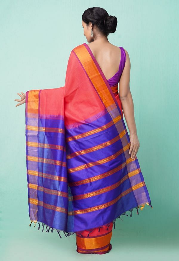 Online Shopping for Red Pure Handloom Uppada Silk Cotton Saree with Weaving from Andhra Pradesh at Unnatisilks.comIndia