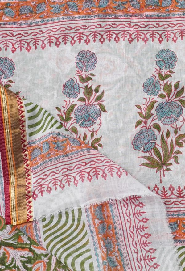 Online Shopping for Green Pure Block Printed Mulmul Cotton Saree with Hand Block Prints from Rajasthan at Unnatisilks.comIndia