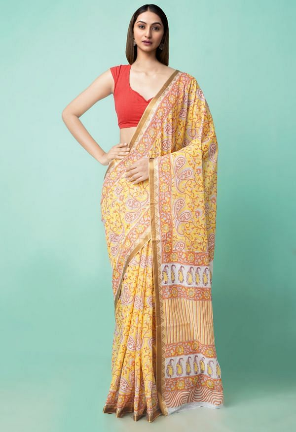 Online Shopping for Yellow Pure Block Printed Mulmul Cotton Saree with Hand Block Prints from Rajasthan at Unnatisilks.comIndia