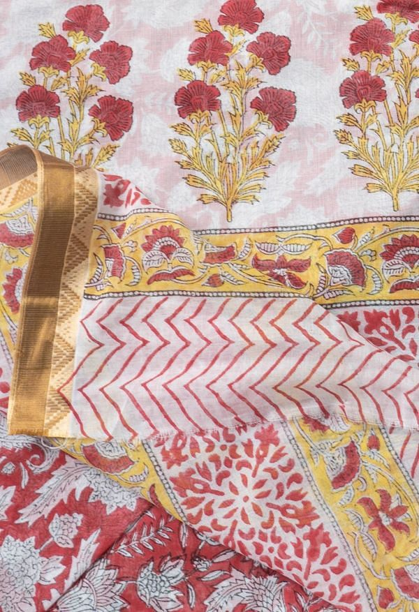 Online Shopping for Red Pure Block Printed Mulmul Cotton Saree with Hand Block Prints from Rajasthan at Unnatisilks.comIndia
