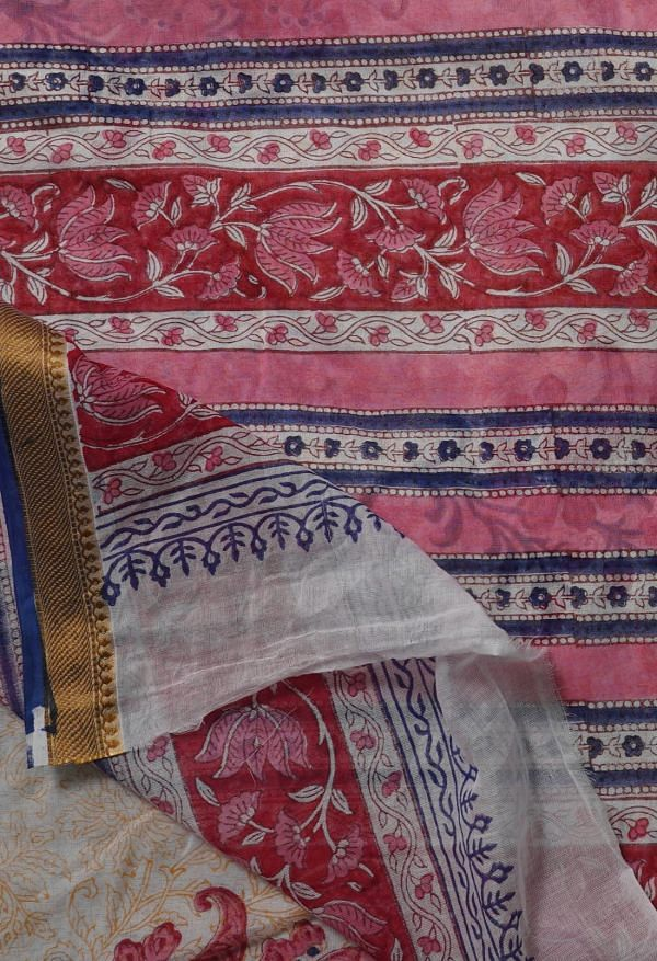 Online Shopping for Ivory Pure Block Printed Mulmul Cotton Saree with Hand Block Prints from Rajasthan at Unnatisilks.comIndia