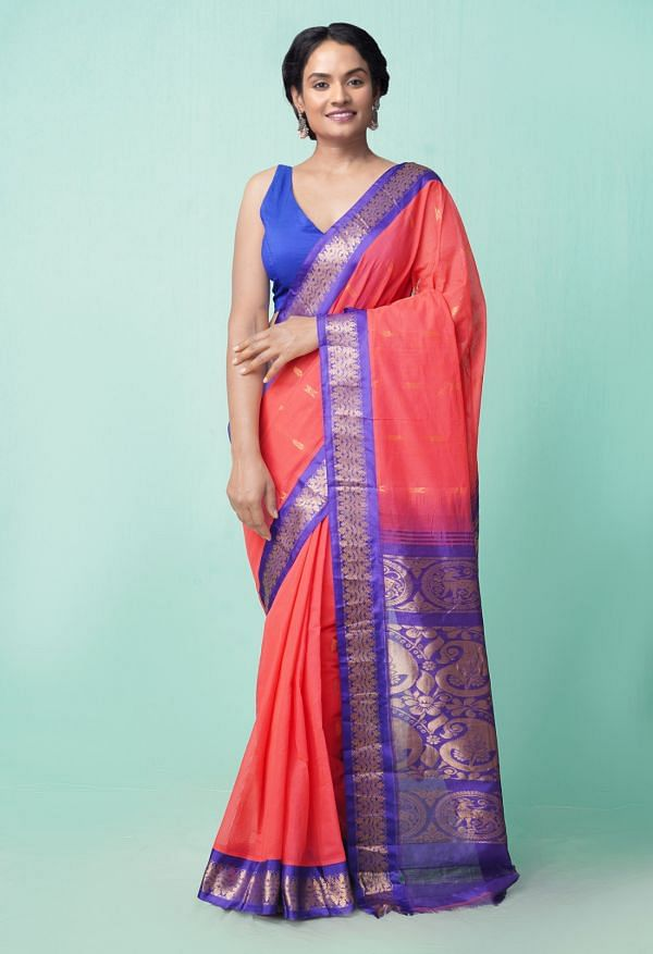 Online Shopping for Red Pure Handloom Gadwal Cotton Saree with Weaving from Andhra Pradesh at Unnatisilks.comIndia