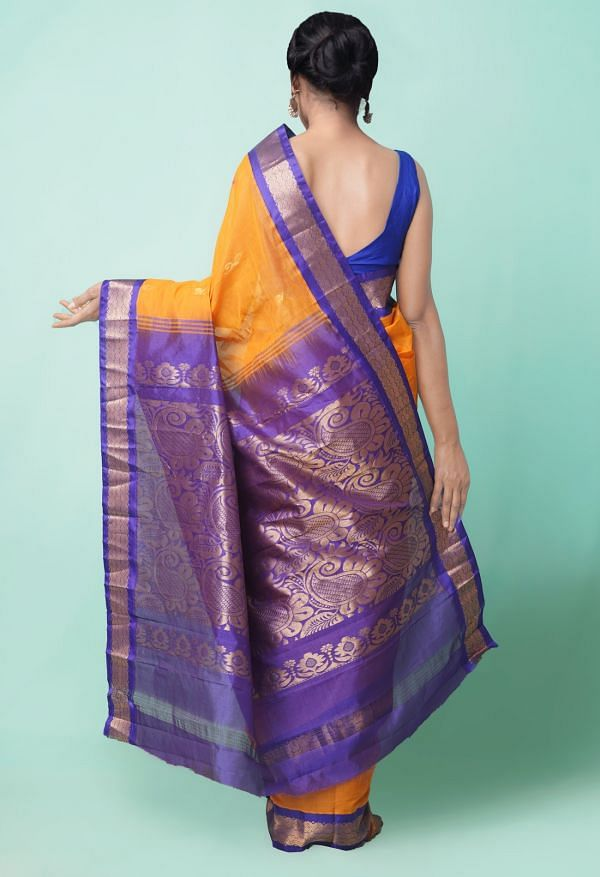 Online Shopping for Orange Pure Handloom Gadwal Cotton Saree with Weaving from Andhra Pradesh at Unnatisilks.comIndia