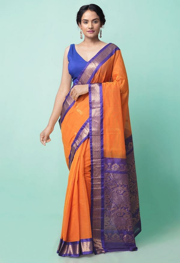 Online Shopping for Rust Orange Pure Handloom Gadwal Cotton Saree with Weaving from Andhra Pradesh at Unnatisilks.comIndia