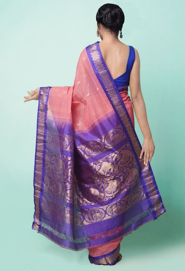Online Shopping for Pink Pure Handloom Gadwal Cotton Saree with Weaving from Andhra Pradesh at Unnatisilks.comIndia