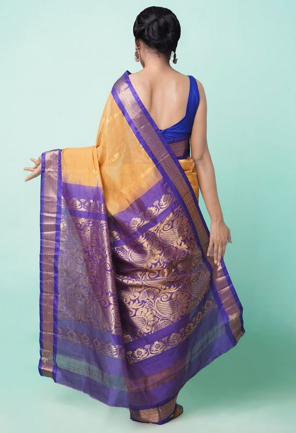 Online Shopping for Brown Pure Handloom Gadwal Cotton Saree with Weaving from Andhra Pradesh at Unnatisilks.comIndia