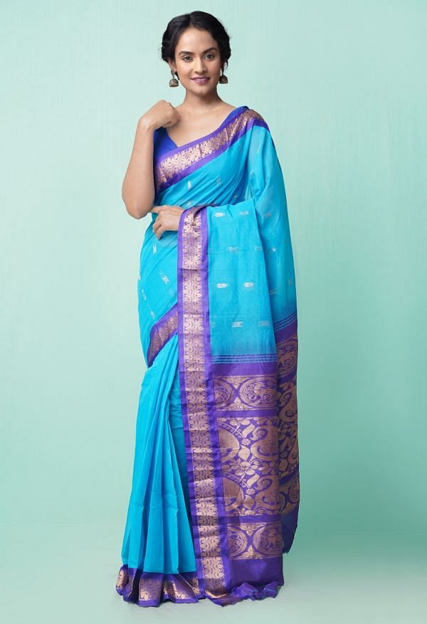 Online Shopping for Blue Pure Handloom Gadwal Cotton Saree with Weaving from Andhra Pradesh at Unnatisilks.comIndia