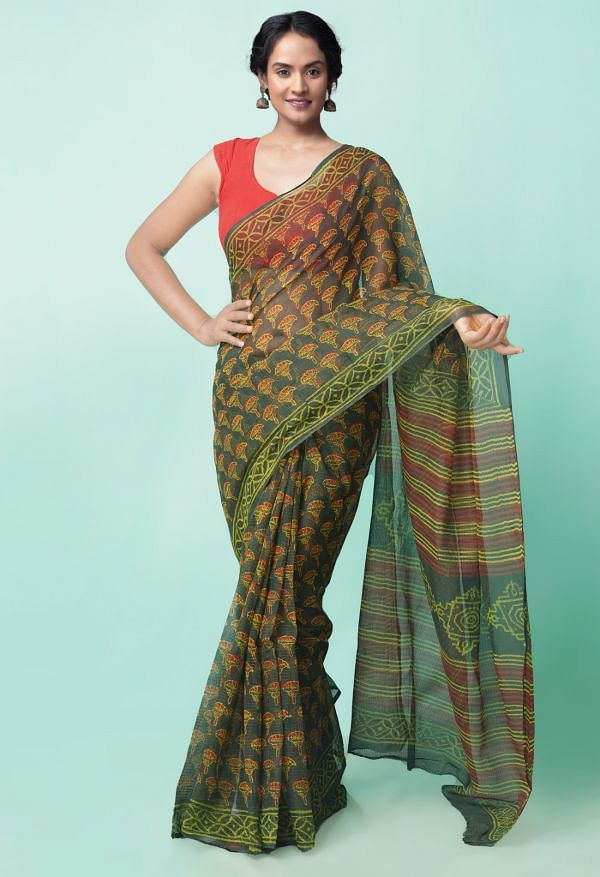 Online Shopping for Green Pure Preet Napthol Kota Cotton Saree with Napthol from Rajasthan at Unnatisilks.comIndia