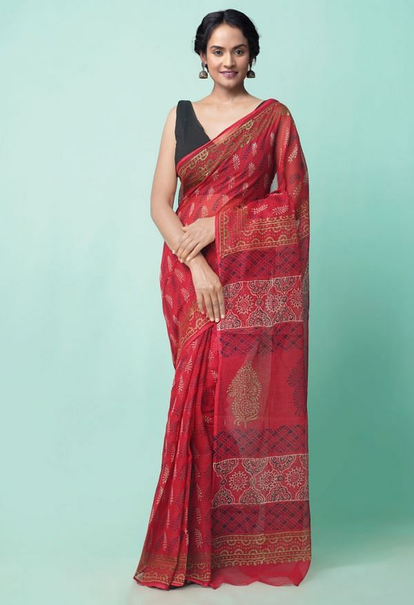 Online Shopping for Red Pure Preet Napthol Kota Cotton Saree with Napthol from Rajasthan at Unnatisilks.comIndia