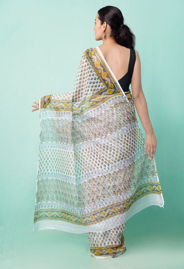 Online Shopping for Ivory Pure Hand Block Printed Kota Cotton Saree with Dabu from Rajasthan at Unnatisilks.comIndia
