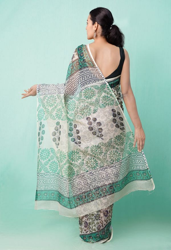 Online Shopping for Beige Pure Hand Block Printed Kota Cotton Saree with Dabu from Rajasthan at Unnatisilks.comIndia