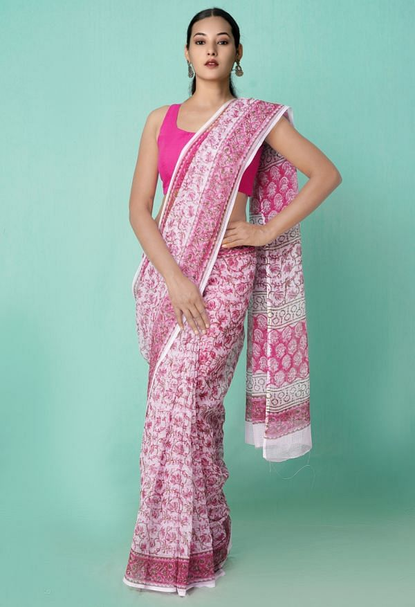Online Shopping for Pink Pure Hand Block Printed Kota Cotton Saree with Hand Block Prints from Rajasthan at Unnatisilks.comIndia