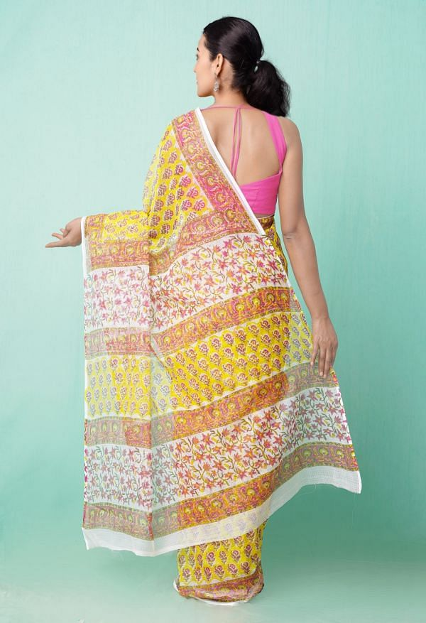 Online Shopping for Yellow Pure Hand Block Printed Kota Cotton Saree with Hand Block Prints from Rajasthan at Unnatisilks.comIndia