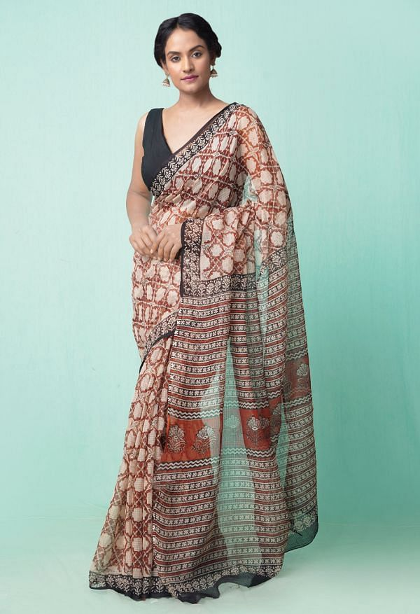 Online Shopping for Beige Pure Preet Bagru Kota Cotton Saree with Bagru from Rajasthan at Unnatisilks.comIndia