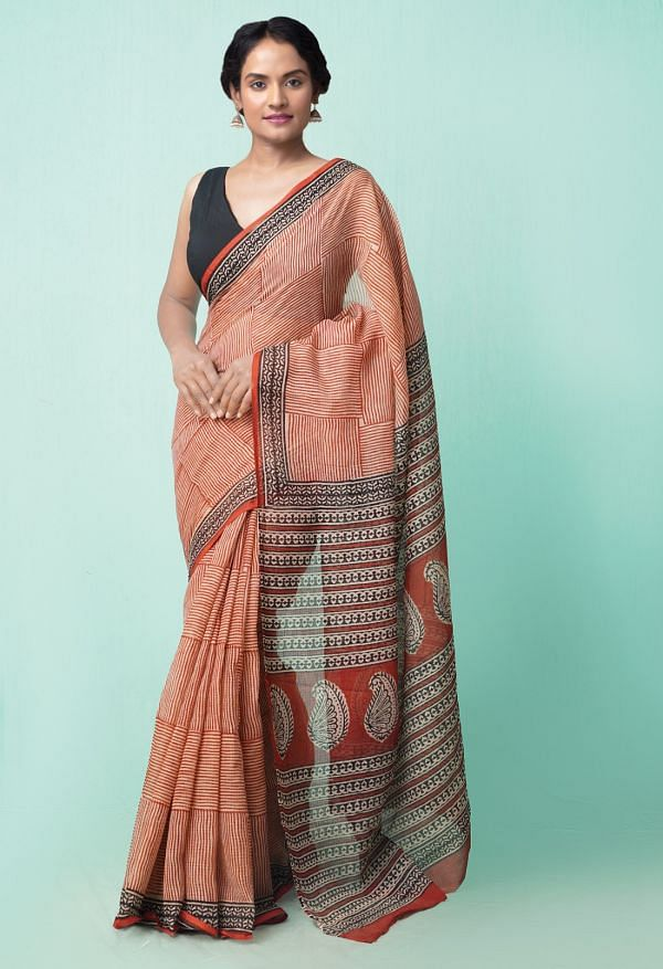 Online Shopping for Red Pure Preet Bagru Kota Cotton Saree with Bagru from Rajasthan at Unnatisilks.comIndia