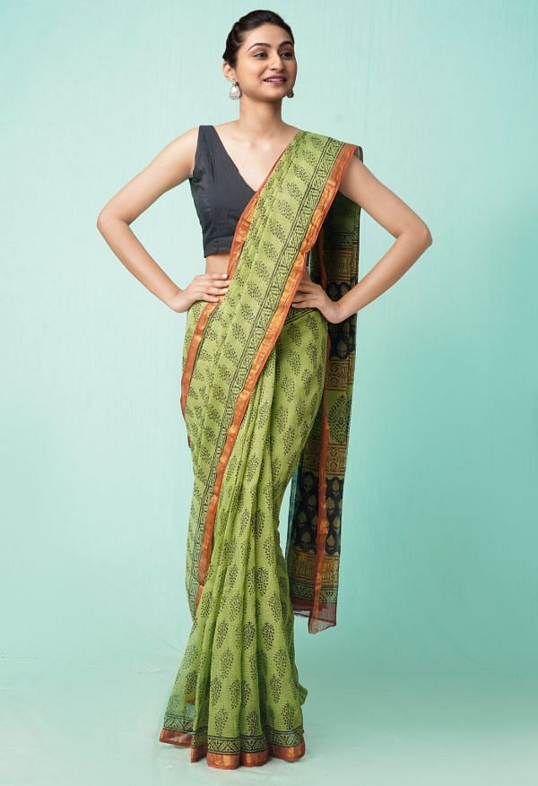 Online Shopping for Green Pure Preet Bagru Kota Cotton Saree with Hand Block Prints from Rajasthan at Unnatisilks.comIndia