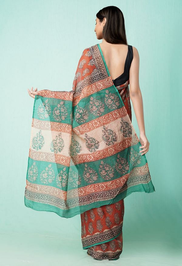 Online Shopping for Red Pure Preet Bagru Kota Cotton Saree with Hand Block Prints from Rajasthan at Unnatisilks.comIndia