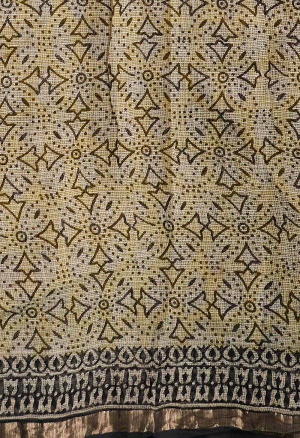 Online Shopping for Yellow Pure Preet Bagru Kota Cotton Saree with Hand Block Prints from Rajasthan at Unnatisilks.comIndia